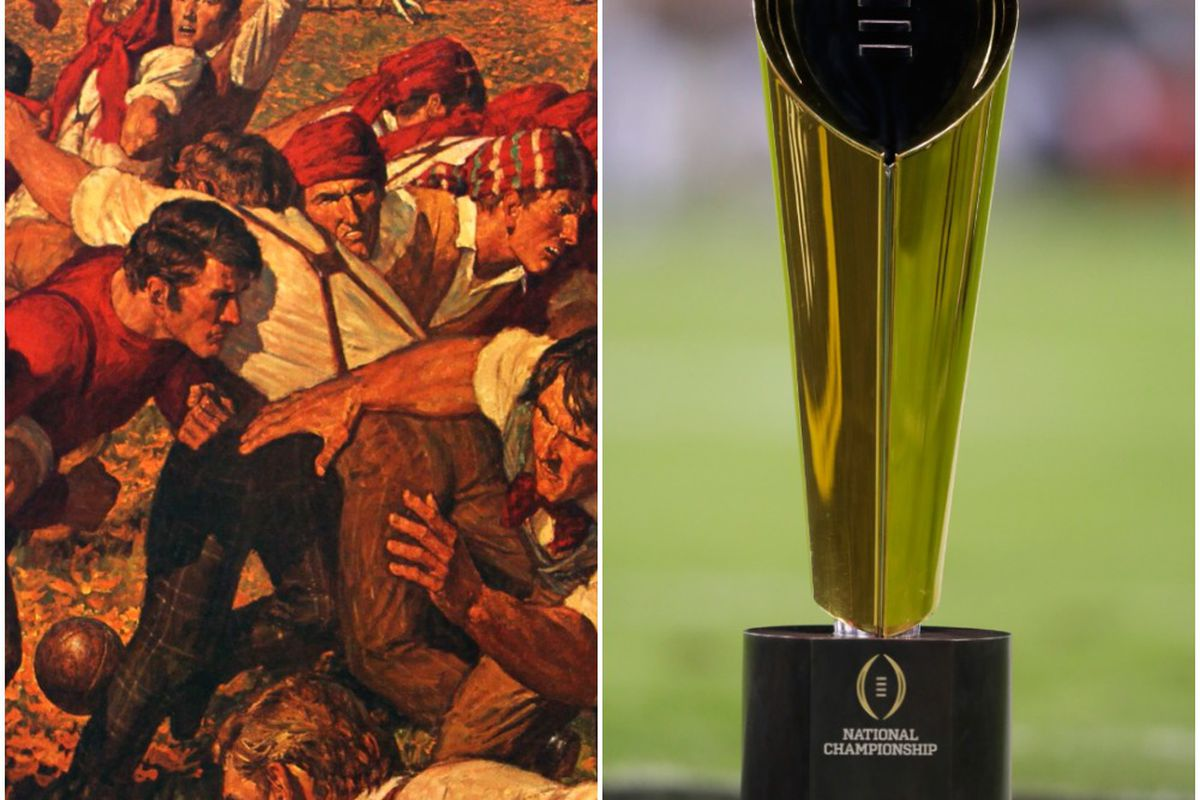 41a7408ffb6 Arnold Friberg s depiction of the first-ever football game the current national  title trophy