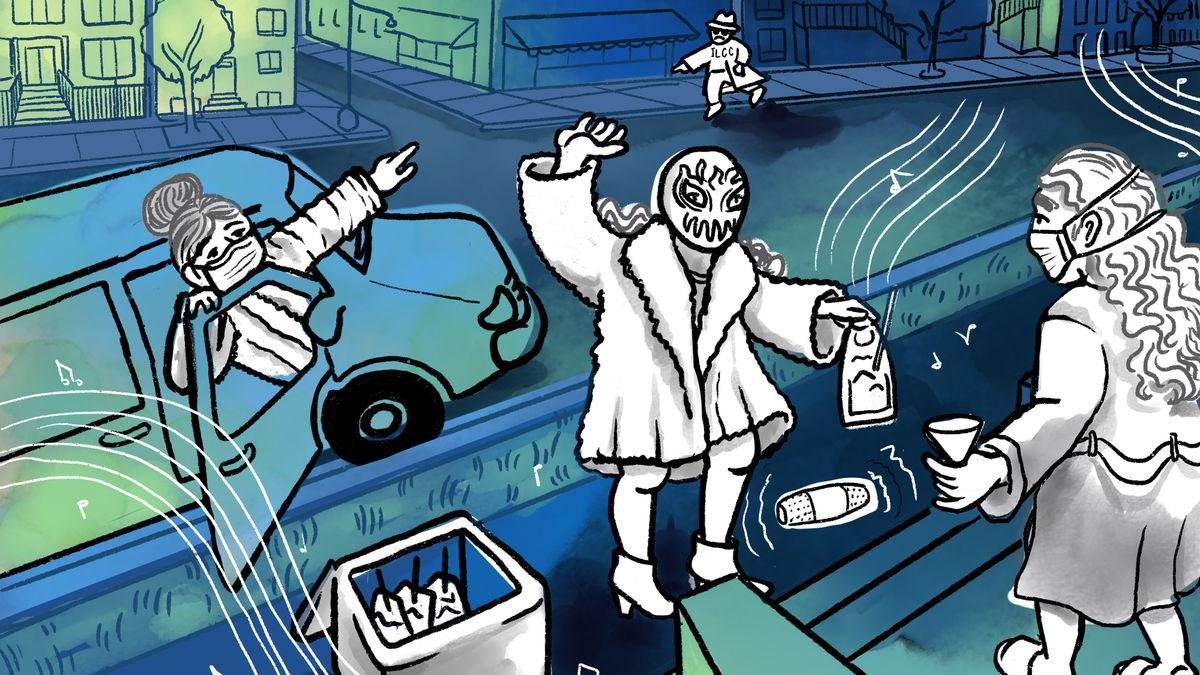 A blue and white illustration of a woman delivering a cocktail to a customer while wearing a luchadores mask.