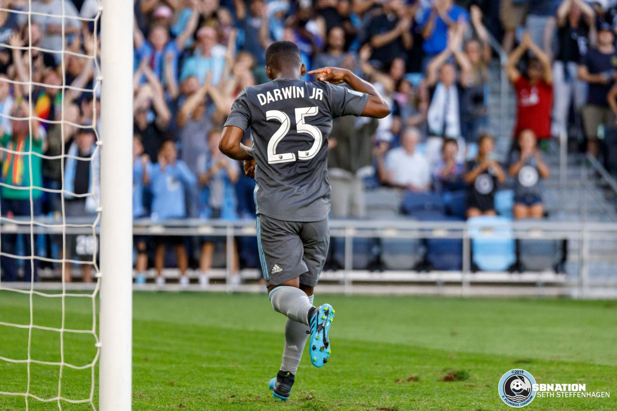 August 14, 2019 - Saint Paul, Minnesota, United States - Moments after failing to score on a penalty kick, Minnesota United forward Darwin Quintero (25) celebrates after scoring a goal during the match against the Colorado Rapids at Allianz Field.