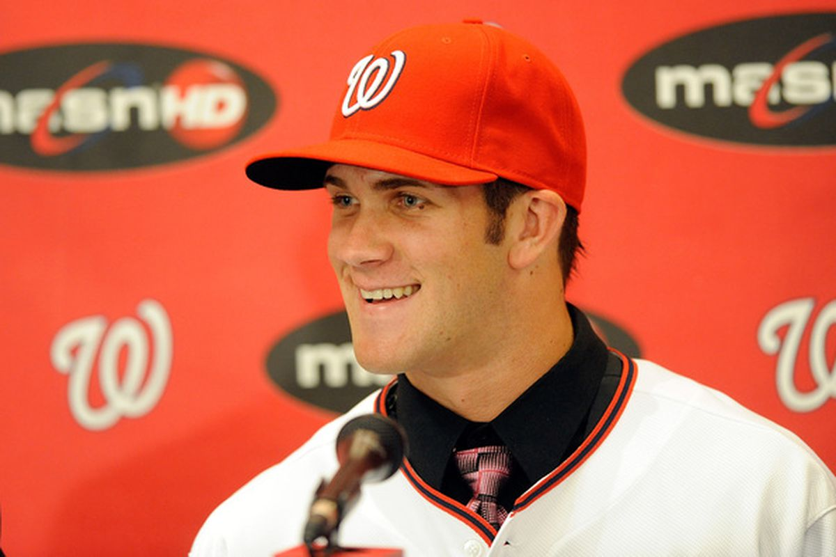 WASHINGTON - AUGUST 26:  Bryce Harper #34 of the Washington Nationals talks to the media during a press conference at Nationals Park on August 26 2010 in Washington DC.  (Photo by Greg Fiume/Getty Images)