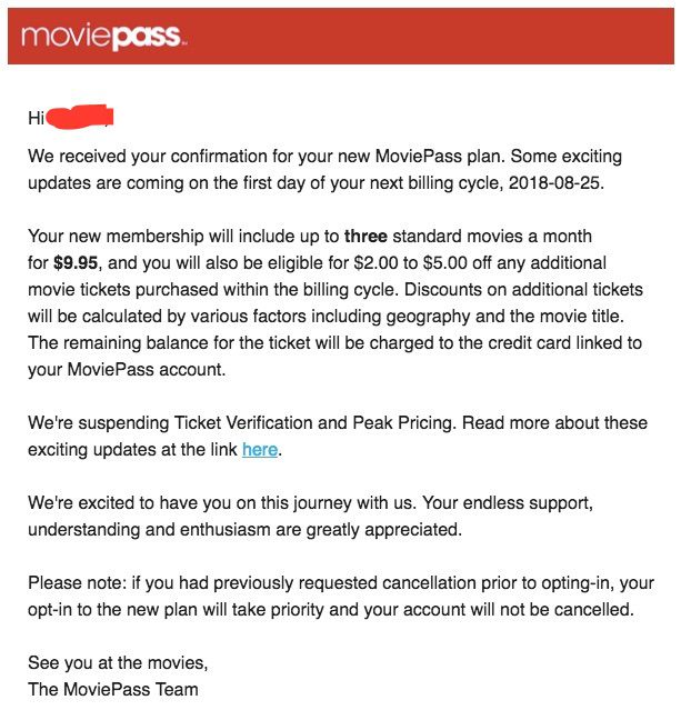 An email sent by MoviePass to a customer.