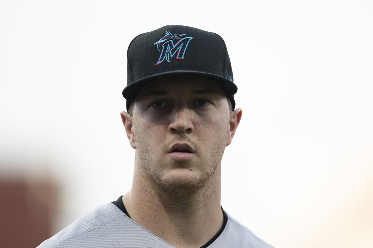 Trevor Rogers of the Miami Marlins looks on prior to the game against the Philadelphia Phillies at Citizens Bank Park