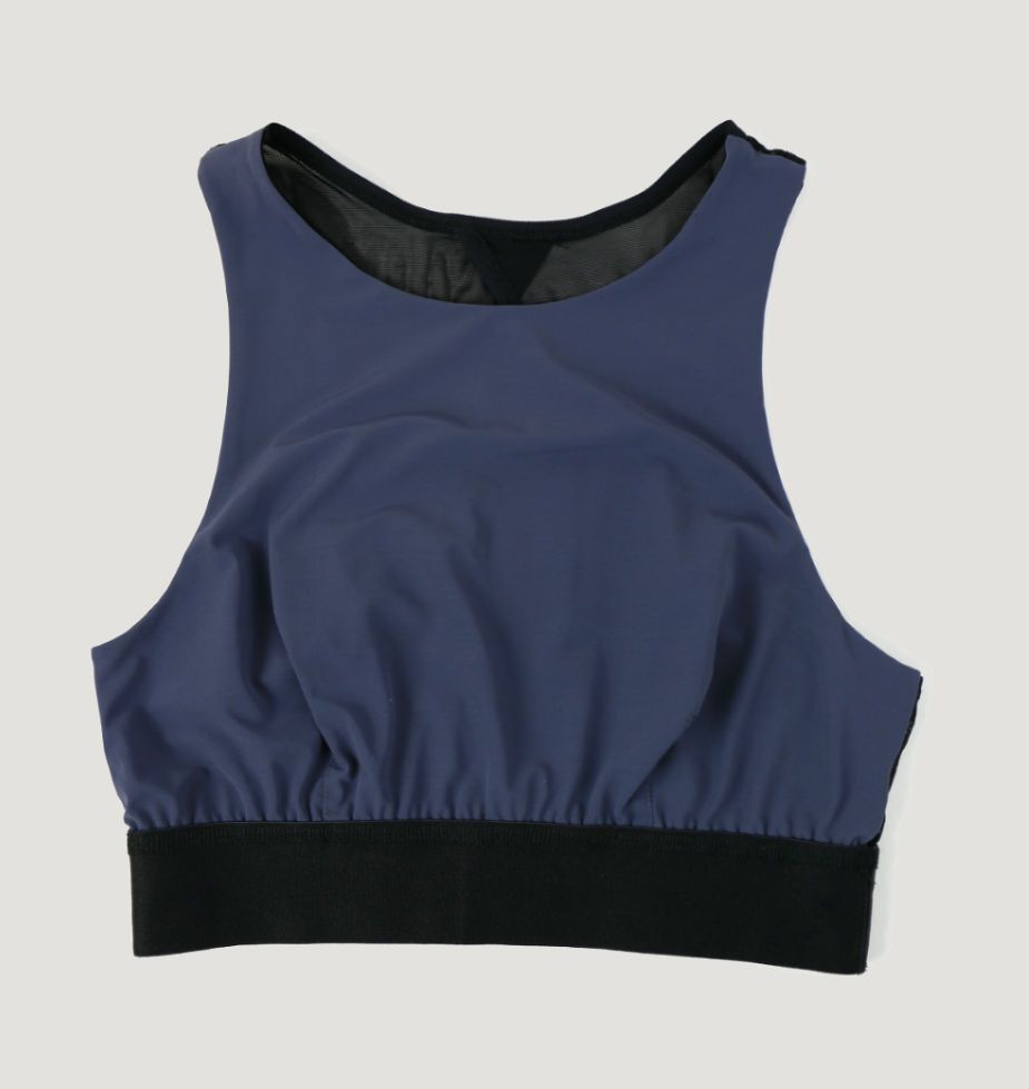 A Hanky Panky high-neck workout bra in navy and black