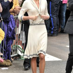 Channeling Coco Chanel in an Alexander McQueen dress and Prada pumps on day five of her Canadian tour, July 4th, 2011.