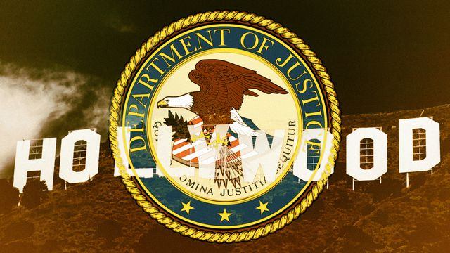 The Hollywood sign superimposed over the seal of the US DOJ