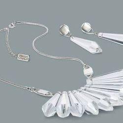 Crystal teardrop earrings in silver, $16.99; crystal teardrop necklace in silver, $39.99