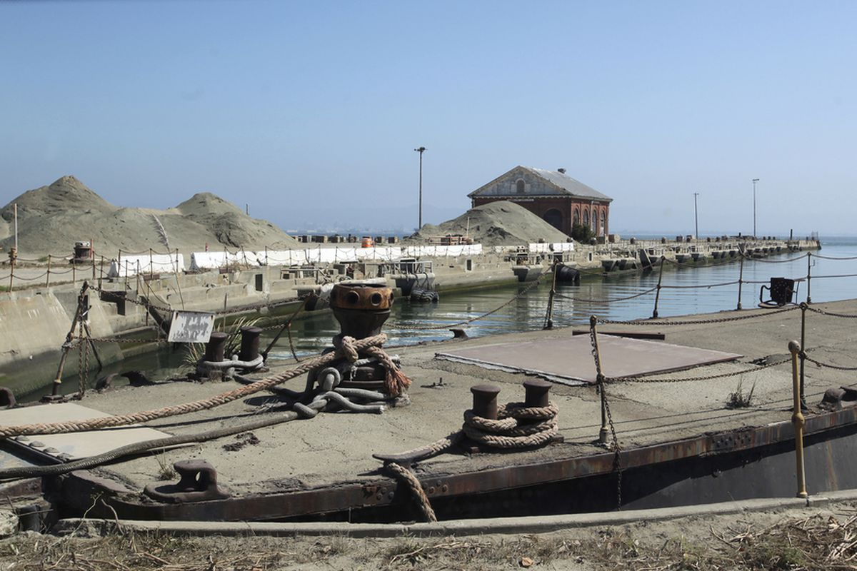 Docks at the closed Hunters Point Shipyard