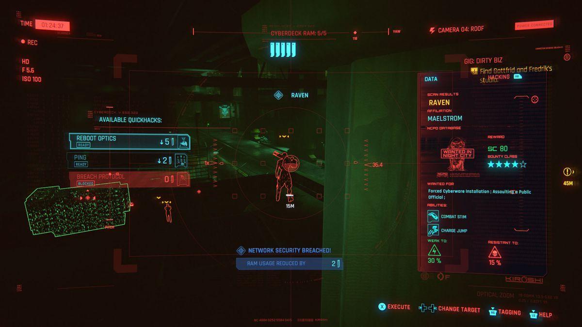 A screenshot from Cyberpunk 2077