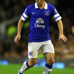 Leighton Baines of Everton in action during the Barclays Premier League match between Everton and Newcastle United at Goodison Park on September 30, 2013 in Liverpool, England.