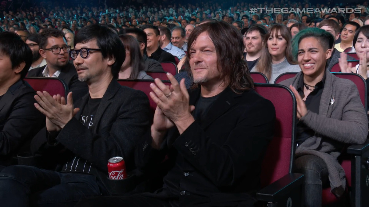 Norman Reedus and Hideo Kojima clapping