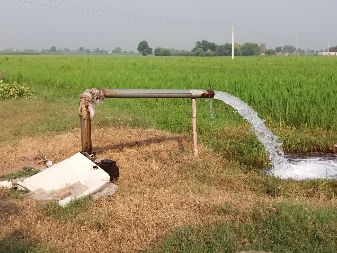 Tube wells are bored into the ground to provide clean drinking water.