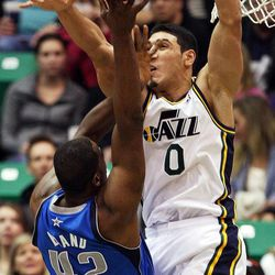 Enes Kanter of the Utah Jazz, right, defends against, Elton Brand of the Dallas Mavericks during NBA basketball in Salt Lake City, Monday, Jan. 7, 2013.