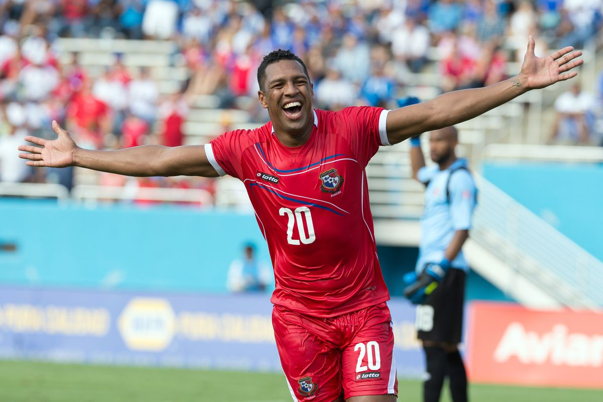 Nurse (with a new 'do) celebrating his goal for Panama.