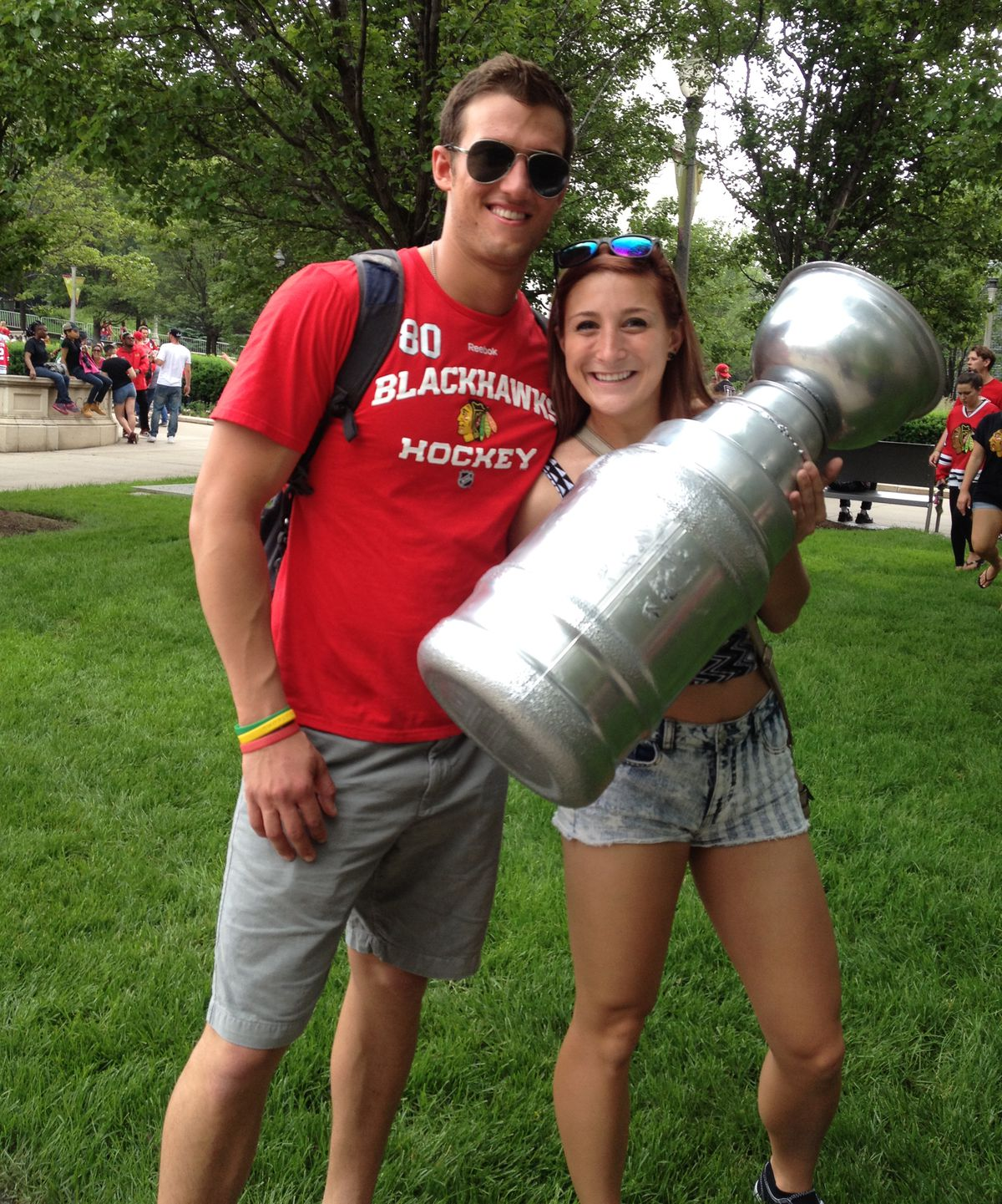 Stephen Covart and Corrine Peterson, both 22, of Crystal Lake, made their own copy of the Stanley Cup. | Maudlyne Ihejirika/Sun-Times