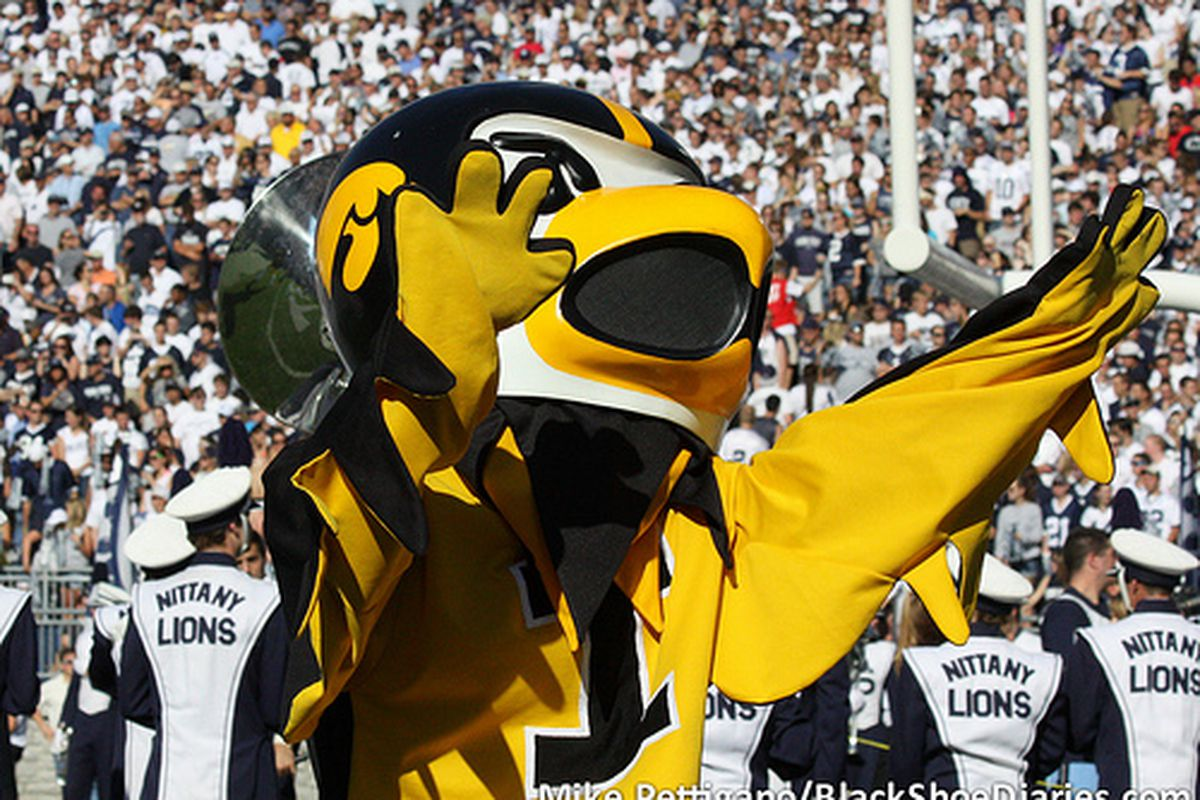 """The Iowa Hawkeyes mascot during Penn State's win over Iowa 13-3, Oct. 8, 2011. (<a href=""""http://www.flickr.com/photos/mikepettigano/6227860499/in/set-72157627732327041/"""" target=""""new"""">BSD/Mike Pettigano</a>)"""
