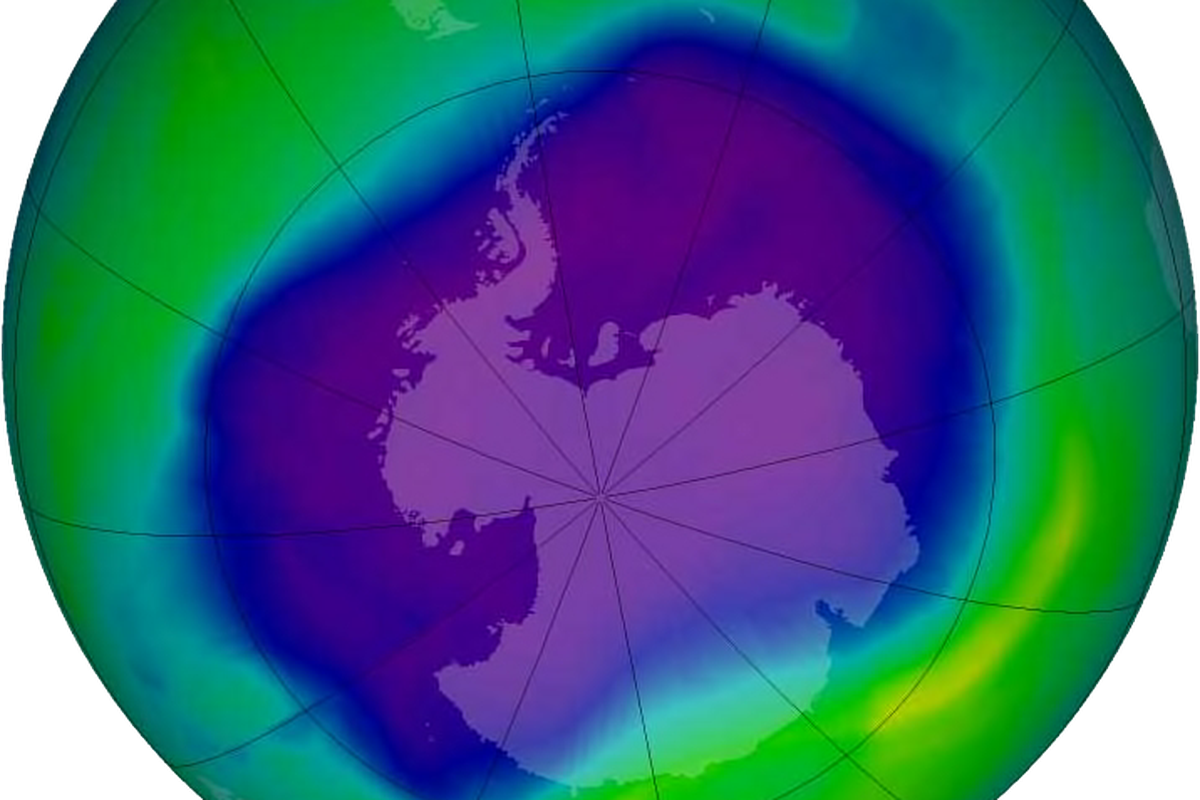 Image of the largest Antarctic ozone hole ever recorded (September 2006), over the Southern pole