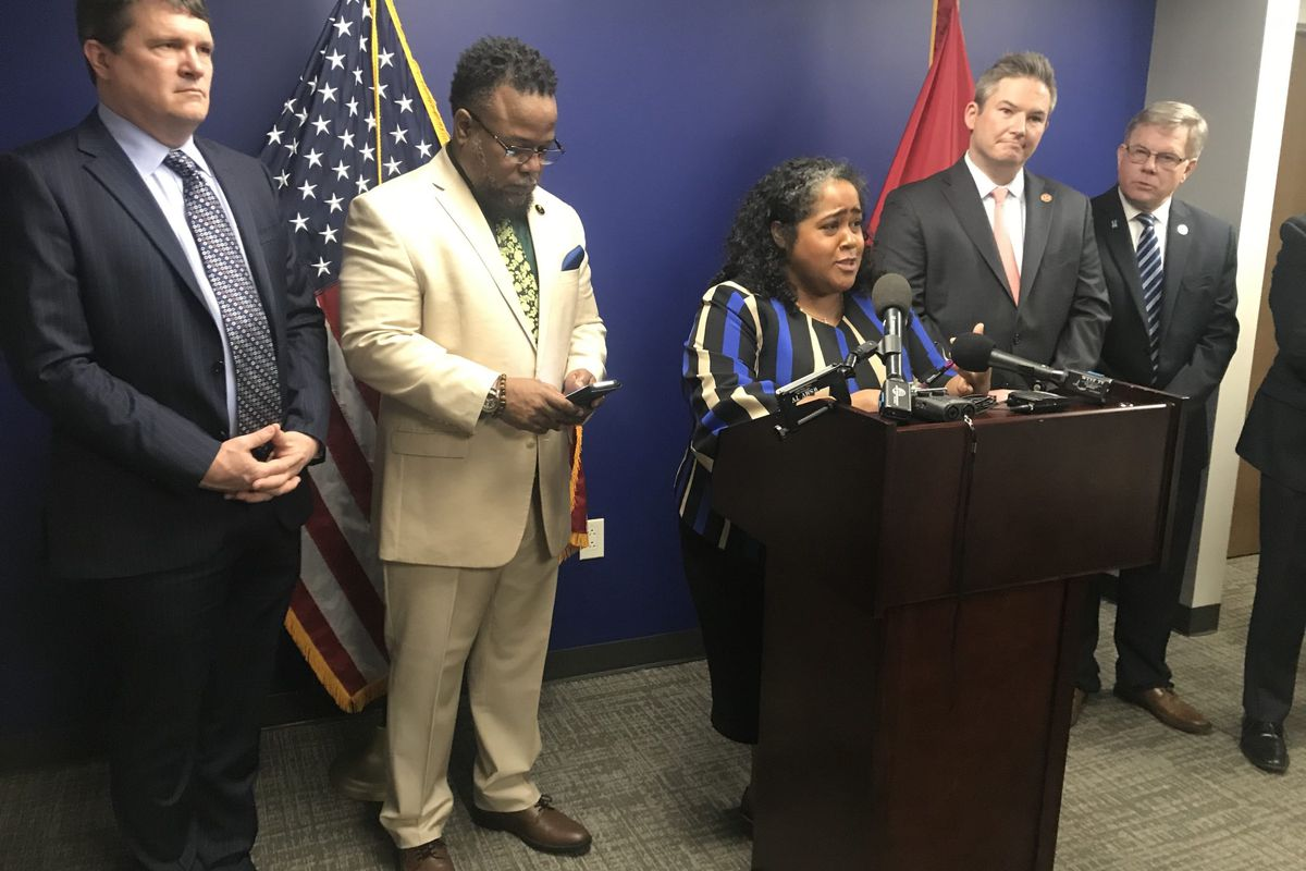 Sen. Raumesh Akbari of Memphis speaks Wednesday during a news conference in which Democrats blasted the state's level of funding for Tennessee public schools. From left: Rep. Mike Stewart of Nashville, Rep. Antonio Parkinson of Memphis, Akbari, Sen. Jeff Yarbro of Nashville, and Rep. Dwayne Thompson of Cordova.