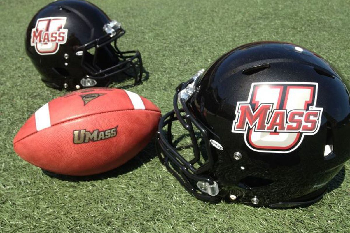 The new black UMass helmet. (UMass Athletics)