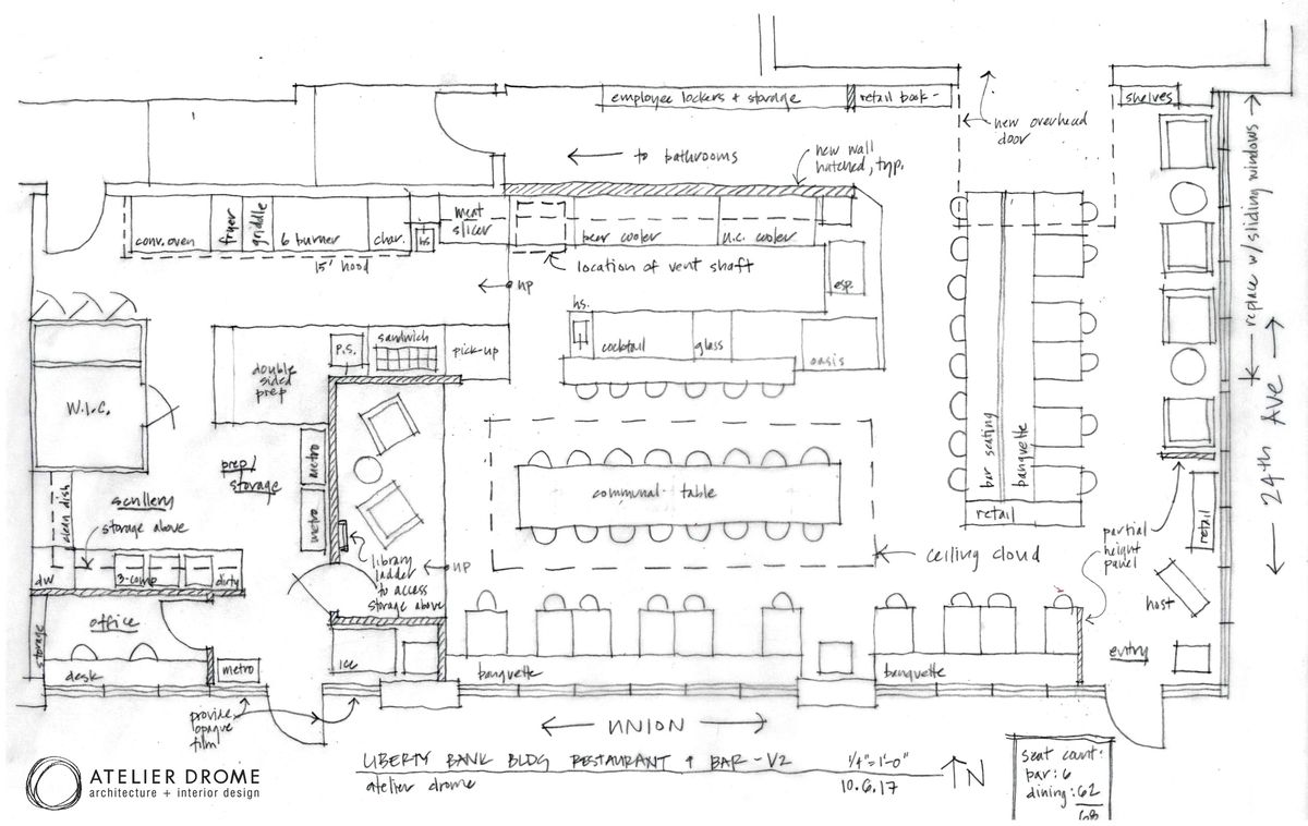 A penciled-out design layout for a restaurant and bar, topdown view.