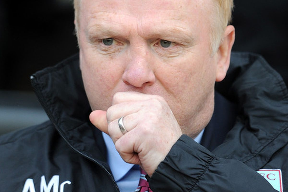WIGAN, ENGLAND - FEBRUARY 25:  Aston Villa manager Alex McLeish looks on before the Barclays Premier League match between Wigan Athletic and Aston Villa at DW Stadium on February 25, 2012 in Wigan, England.  (Photo by Chris Brunskill/Getty Images)