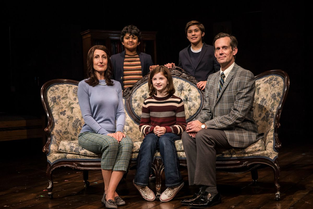 """McKinley Carter (from left), Preetish Chakraborty, Stella Rose Hoyt, Leo Gonzalez and Rob Lindley in the 2017 Victory Gardens Theater production of """"Fun Home."""""""