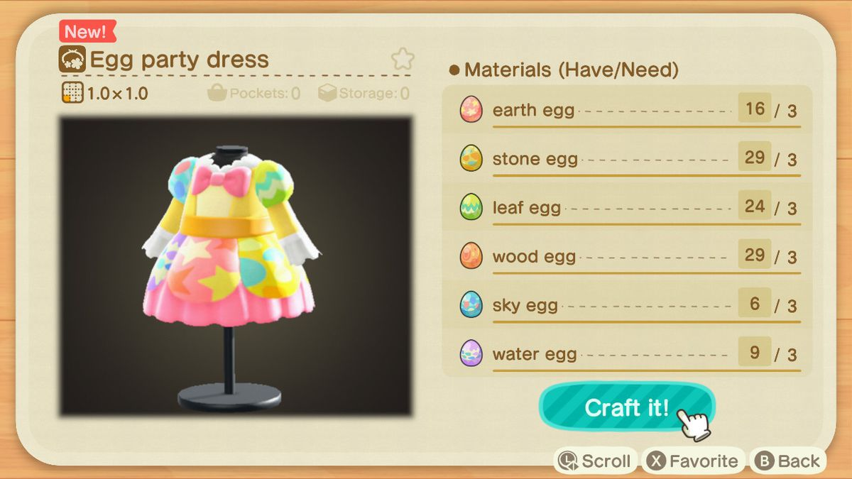 A crafting screen in Animal Crossing showing how to make an Egg Party Dress