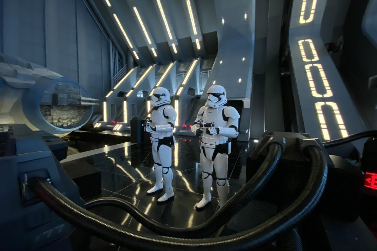A photo of two stormtroopers at Star Wars: Galaxy Edge's new ride Rise of the Resistance.