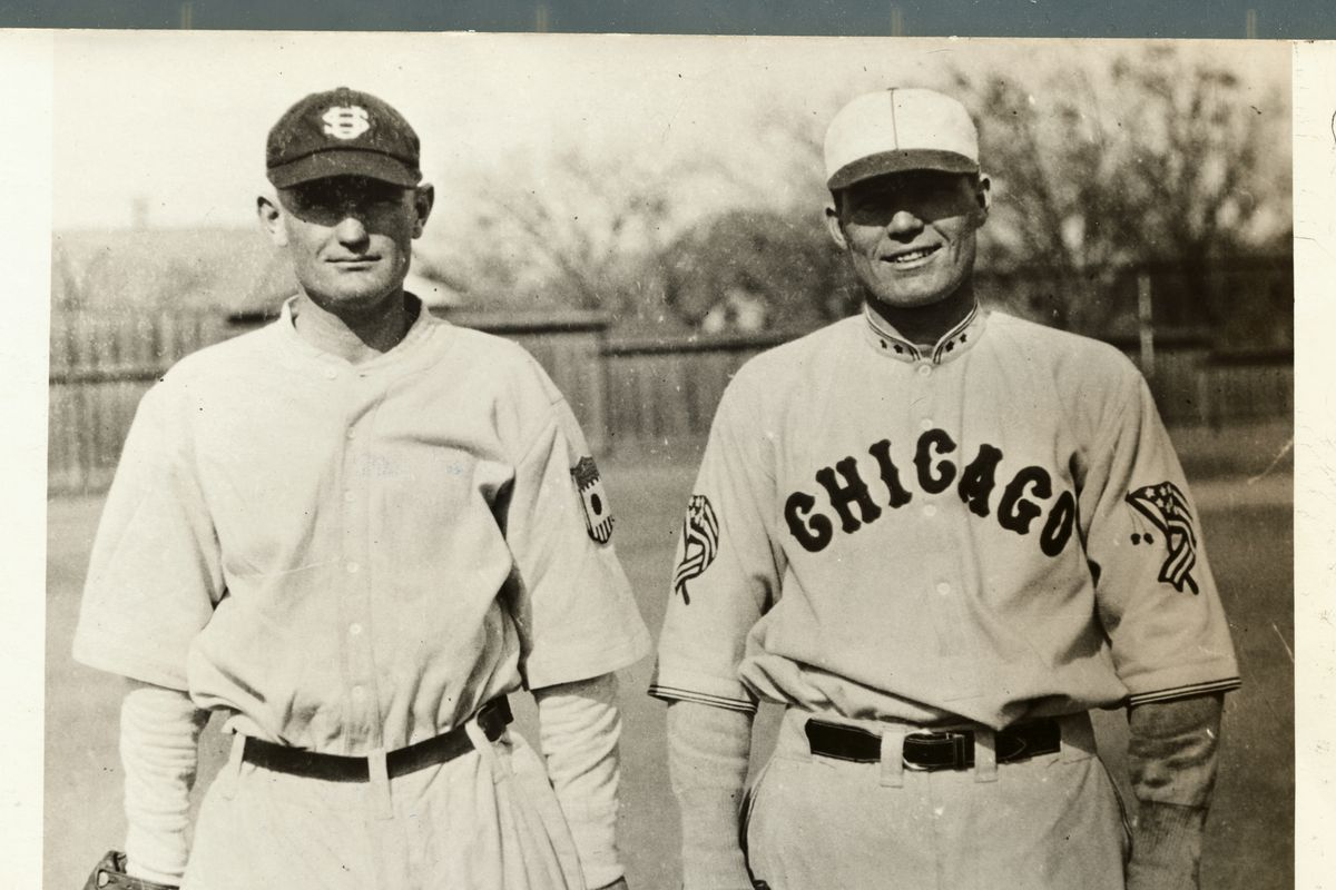 Brothers Bib and Chester 'Spot' Falk in Baseball Uniform