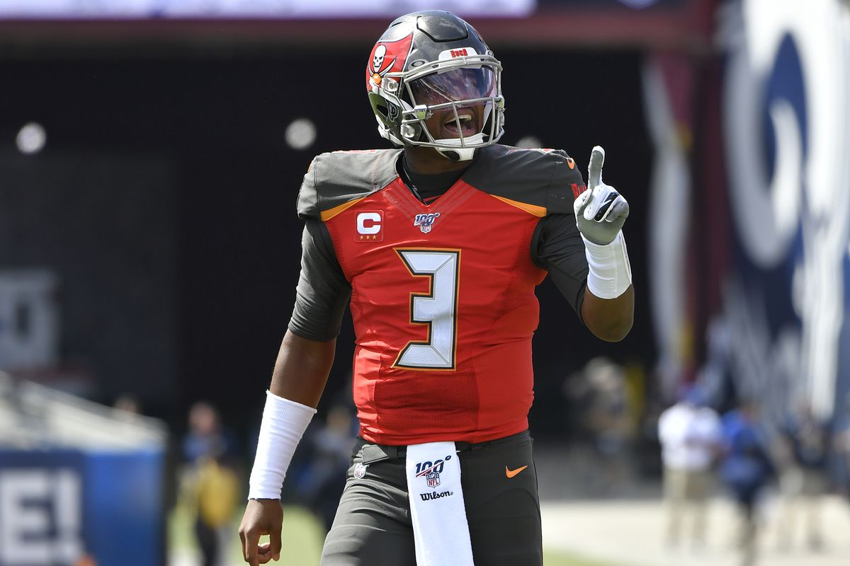 Jameis Winston of the Tampa Bay Buccaneers seen on the goal line during game against the Los Angeles Rams at Los Angeles Memorial Coliseum on September 29, 2019 in Los Angeles, California.