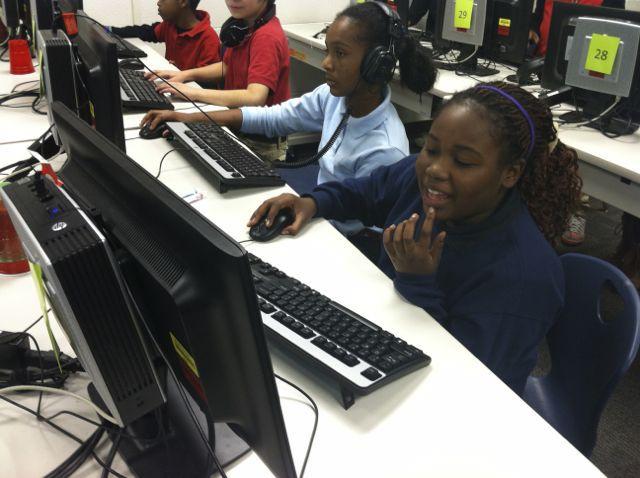 Key students work on projects in the computer lab. (Scott Elliott)