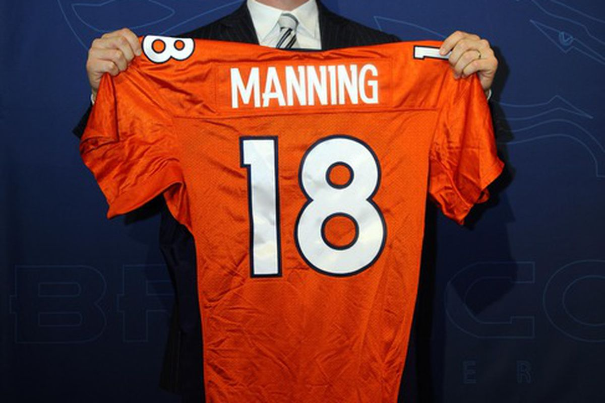 Peyton Manning is going to work this morning at Broncos headquarters. Mandatory Credit: Ron Chenoy-US PRESSWIRE