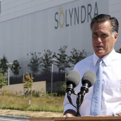 Republican presidential candidate, former Massachusetts Gov. Mitt Romney holds a news conference outside the Solyndra manufacturing facility, Thursday, May 31, 2012, in Fremont, Calif.\r\n