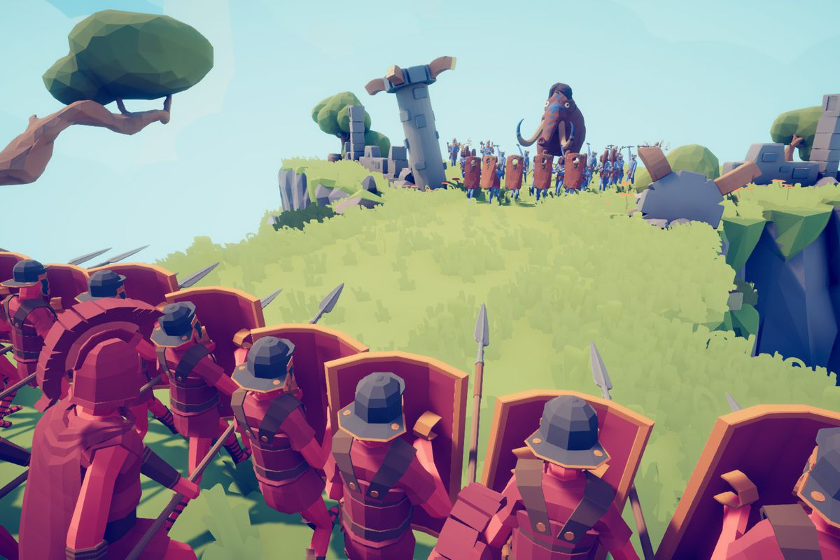 a blocky, low-res phalanx of 16th century Japanese warriors ready their shields against an oncoming horde of cavemen, rallying mastodons along