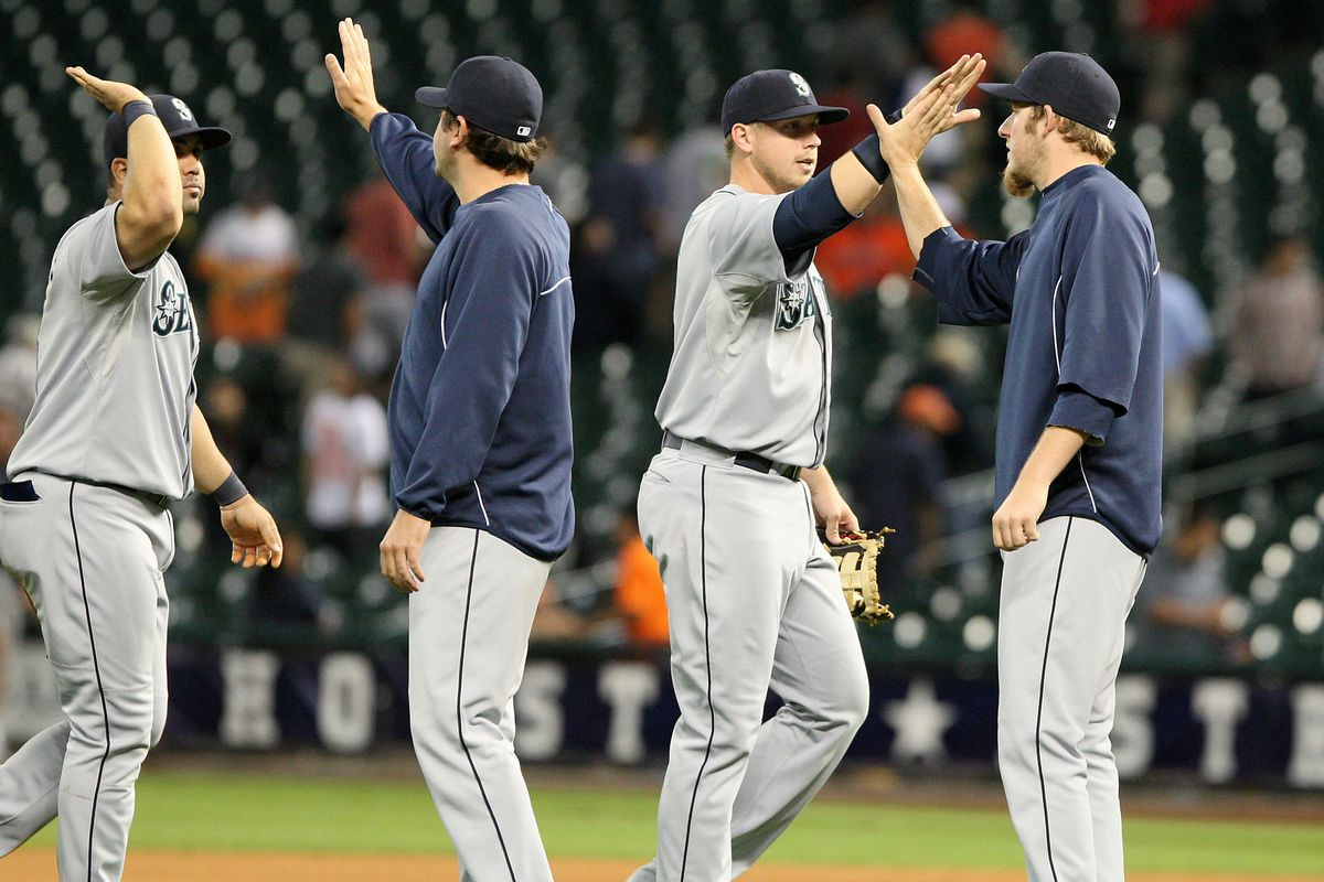 The Mariners haven't had much high-five practice lately.