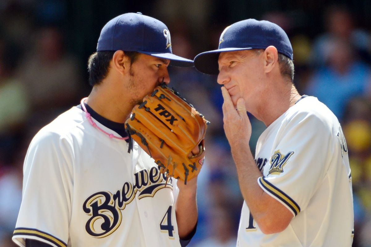 Pictured here: Ron Roenicke suspects something amiss but can't quite put his finger on it.