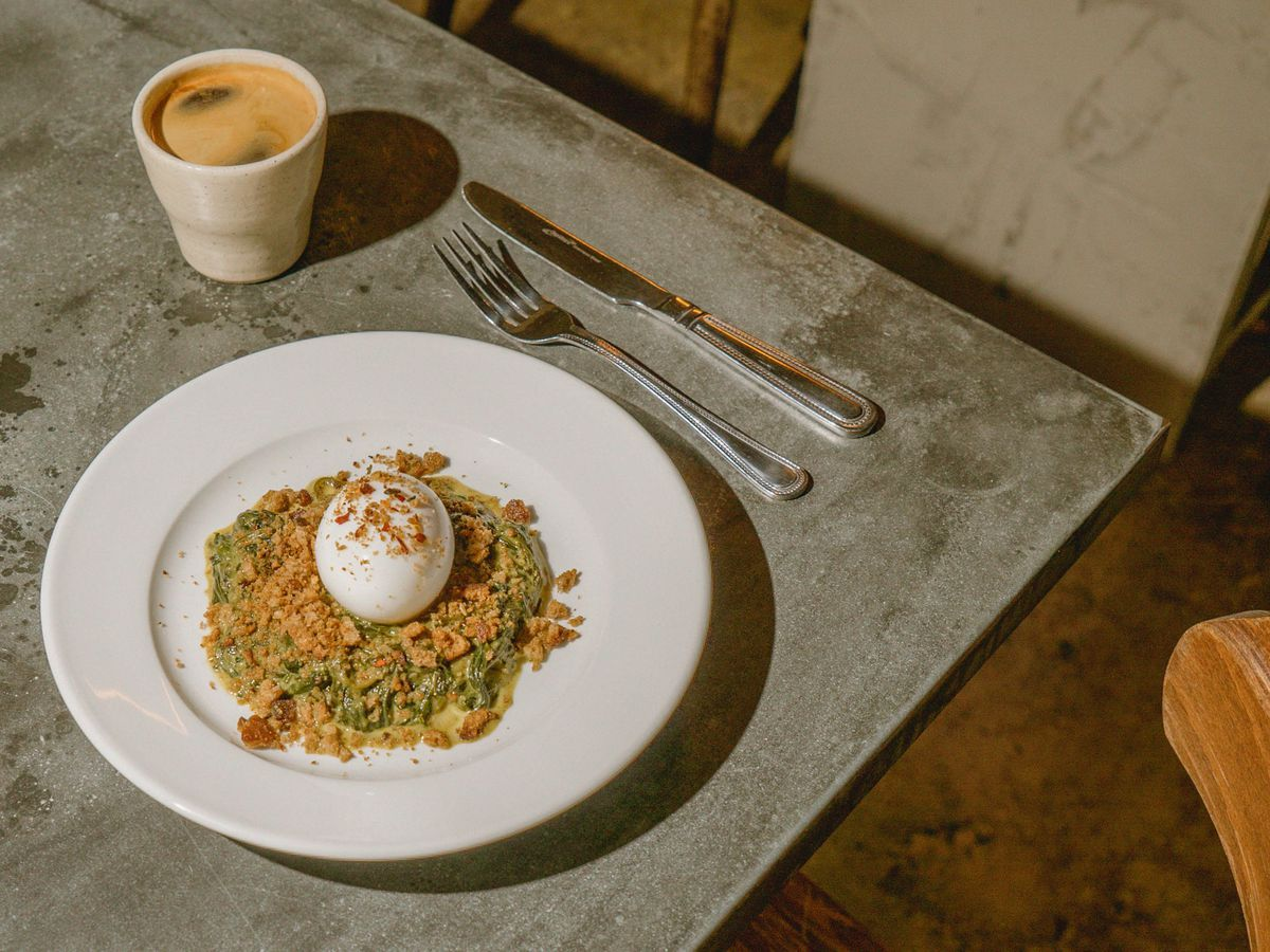 Curried spinach and soft boiled egg at Jolene bakery, restaurant and wine bar in Newington Green