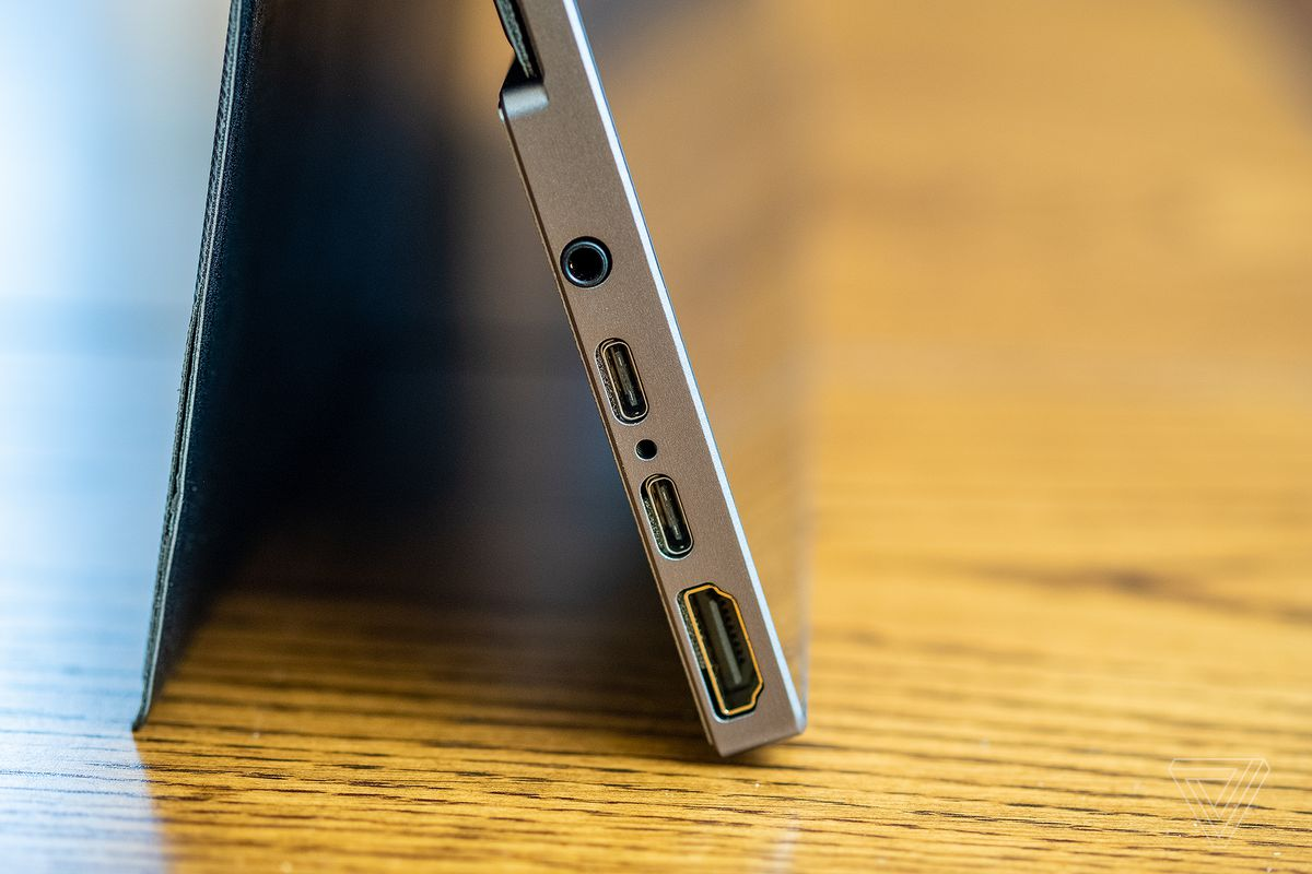 Side detail of the Ananta display showing two USB-C ports, an HDMI port, and a 3.5mm headphone jack.