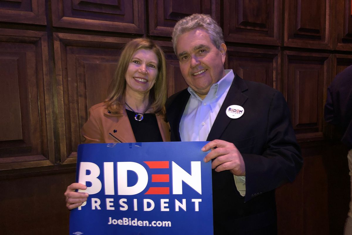 March, 2020 photo at Biden Illinois campaign event in Chicago. Sheila Nix (left) with Chris Dunn.