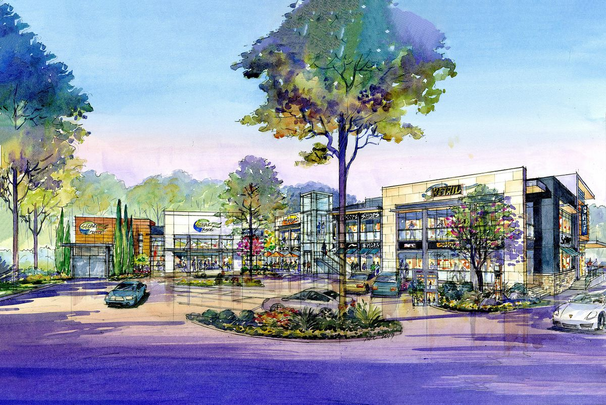 Rendering of retail shops from the parking lot.
