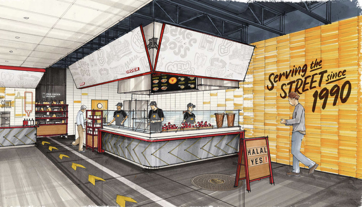 """Artirst rendering shows a restaurant fast-casual dining room with a counter with three workers and a customer approaching. The sign on the wall reads """"serving the street since 1990"""""""