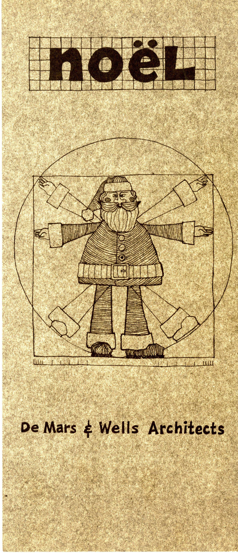 A holiday card created by Vernon DeMars, showing Santa Claus as Leonardo da Vinci's Vitruvian Man.