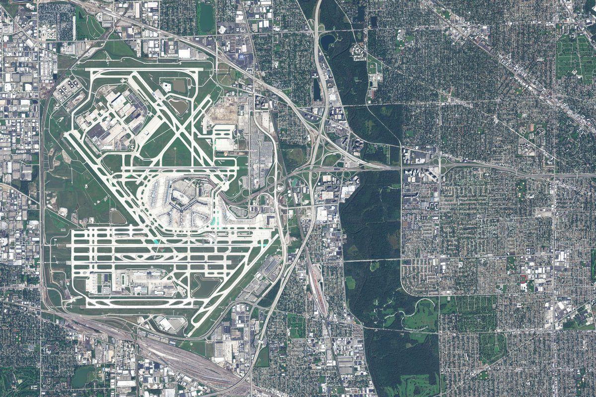 SEPTEMBER 21, 2015: DigitalGlobe satellite imagery of the Chicago O'Hare International Airportin Chicago, Illinois, USA.