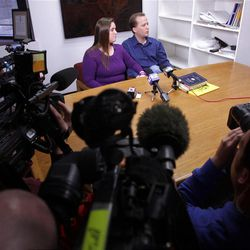 Kirk and Jennifer Graves talk with the media about the recent murder of their nephews in Salt Lake City  Wednesday, Feb. 8, 2012. Jennifer is the sister of Josh Powell.