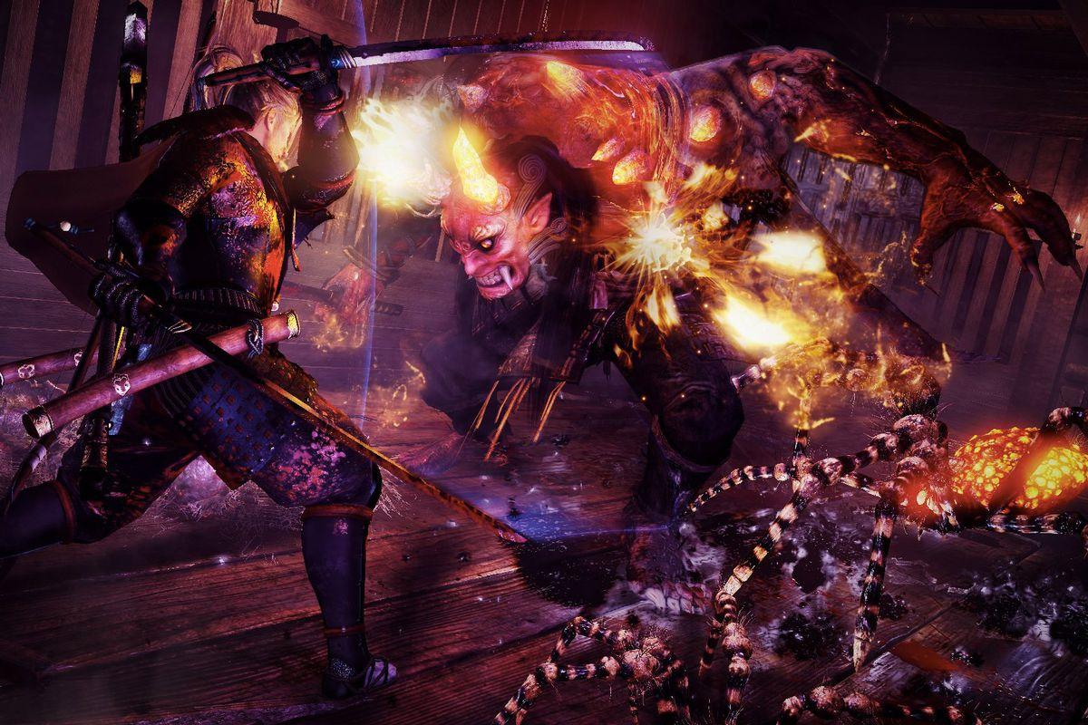 Nioh - fighting a demon