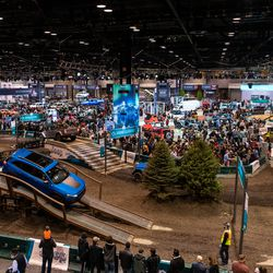 Drivers get to test drive Jeep vehicles on an indoor course Saturday at the 2020 Chicago Auto Show at McCormick Place.