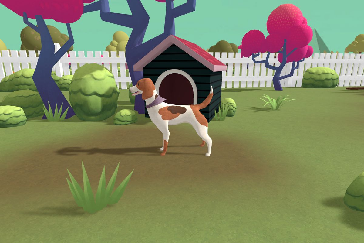 Doggone - A dog stands in his yard, in front of a doghouse, looking content with his dog life.