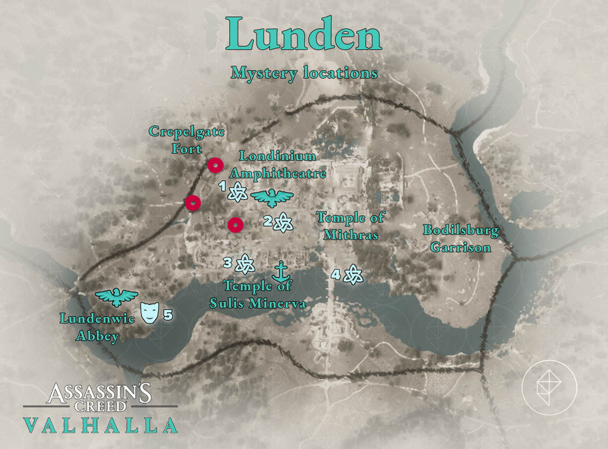 Assassin's Creed Valhalla Lunden Mysteries locations map