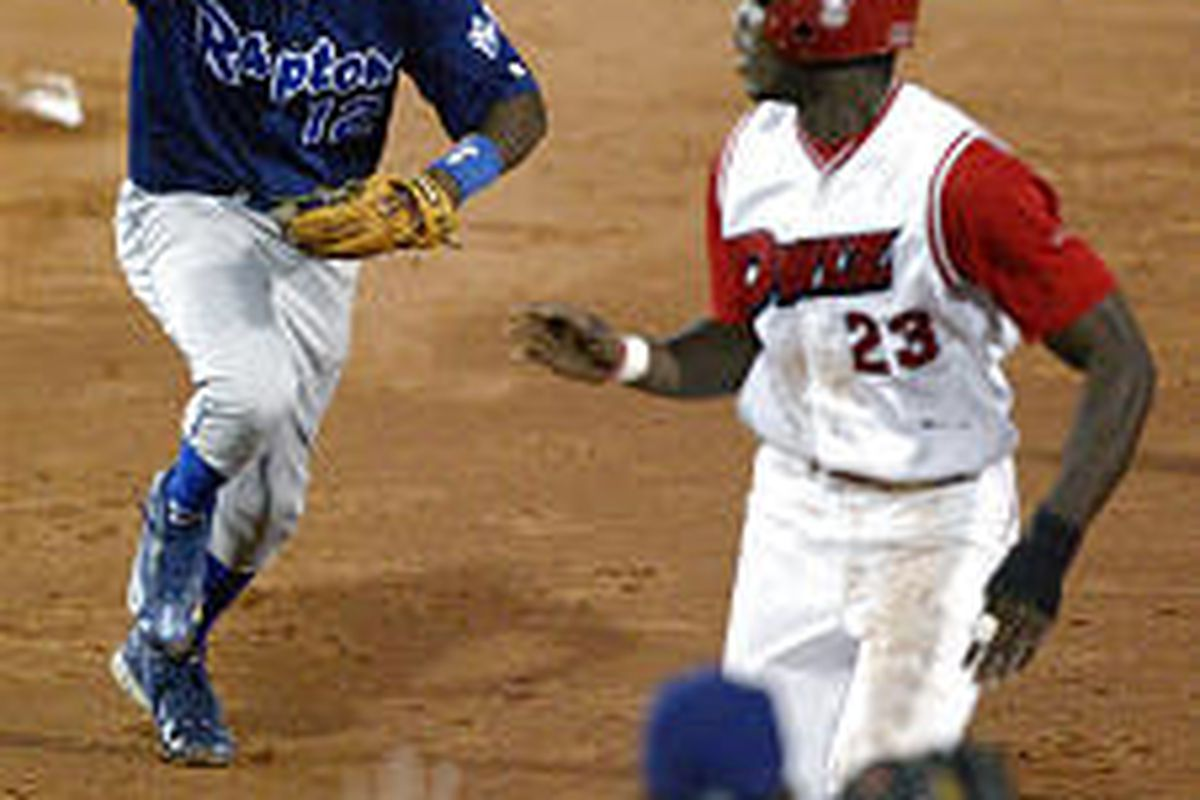 Owlz Stantrel Smith is chased by Raptor Juan Rivera .