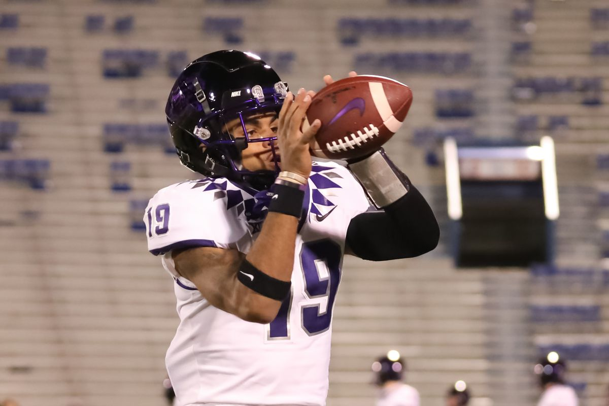 TCU Horned Frogs linebacker Dylan Jordan catches a ball before a Big 12 game between the TCU Horned Frogs and Kansas Jayhawks on November 28, 2020 at Memorial Stadium in Lawrence, KS.