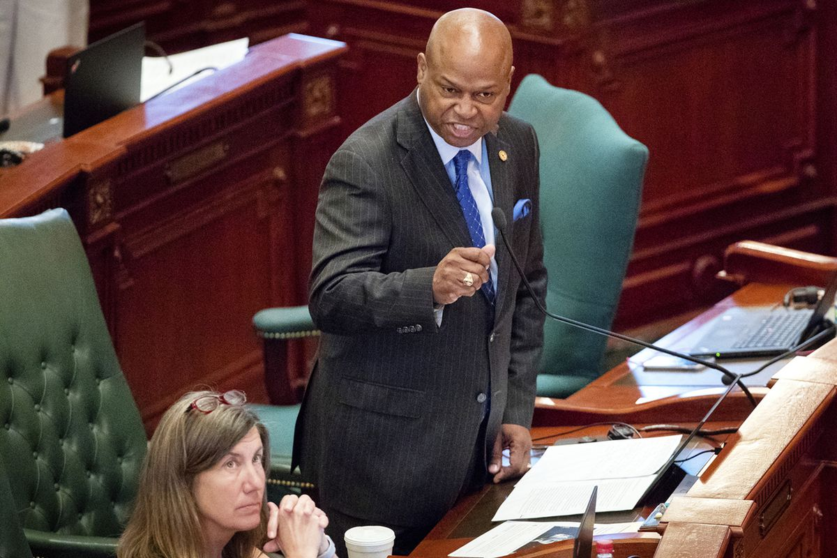 """State Rep. Emanuel """"Chris"""" Welch, D-Hillside, speaks in favor of SJRCA1, Monday, May 27, 2019, at the state House of Representatives, in Springfield, Ill. The bill passed and will put Gov. J.B. Pritzker's graduated tax proposal on the November 2020"""